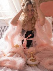 Bridal Boudoir Robe Pink Feather Bridal Sheer Robe Tulle Illusion Long Birthday Feather Robe Costume Bachelorette Party Dress