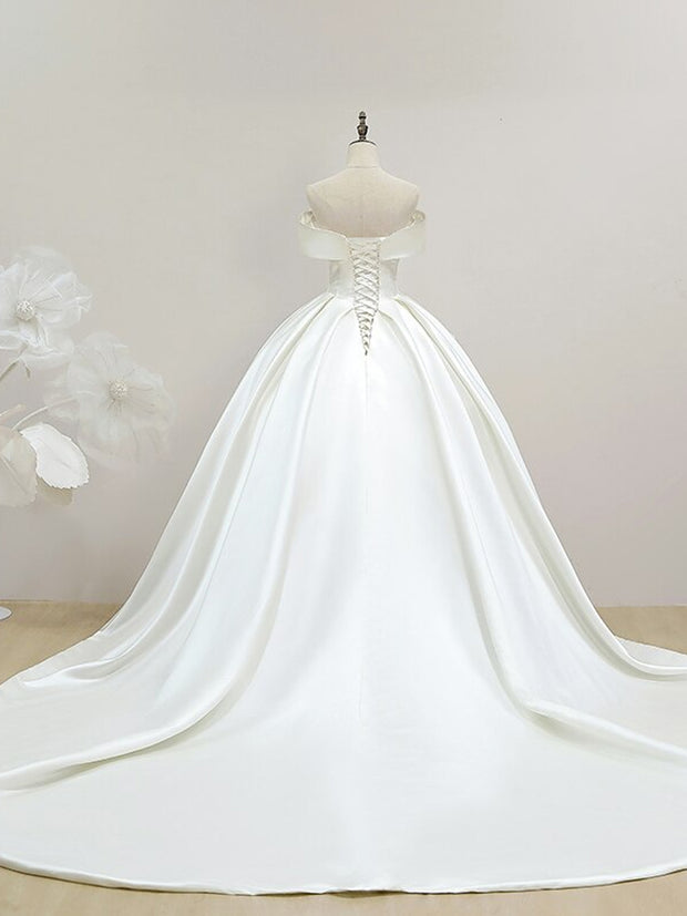 Luxury Satin Strapless Vestido De Noiva Wedding Dress 2020 Long Train Plus Size Wedding Gowns Bridal Dress
