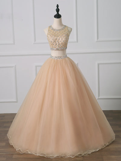 Champagne Quinceanera Dresses New Sweet 15 Dress Debutante Heavily Beaded Two Pieces