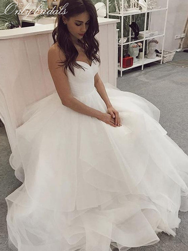 onlybridals A-line wedding Dress Sweetheart White Ivory Pleat Tulle Bridal Dress Spaghetti Strap Tiered Skirt Backless