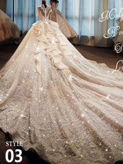 Arabic retro wedding dress with high collar and long sleeves - onlybridals