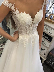 onlybridals Beach Wedding Dress 2020 With Sheer Neck Applique Plus Size Open Back Cap Sleeve White Simple Boho