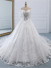 Luxury Lace Vestidos de Novia Ball Gown Wedding Dress 2020 Long Train Princess Quality Wedding Bride Dress