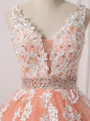 Coral Wedding Dresses High Quality Elegant V-neck Tulle Lace Appliques Crystals and Beads V-back Bridal Gown