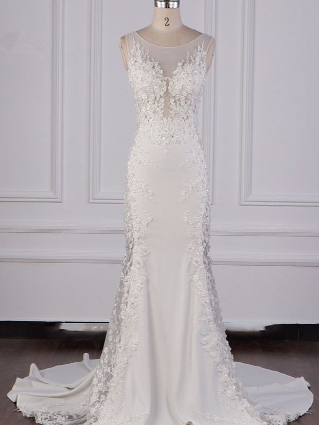 Glamorous Jewel Tulle Lace Wedding Dress Sleeveless Appliques Beadings Bridal Gowns Online
