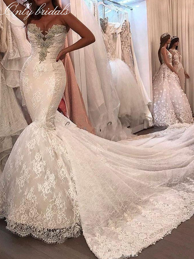 onlybridals Sexy Mermaid Wedding Dresses Lace Appliques Crystal Beaded vestido de noiva Tulle Dechable Chapel Train Bridal Gowns - onlybridals