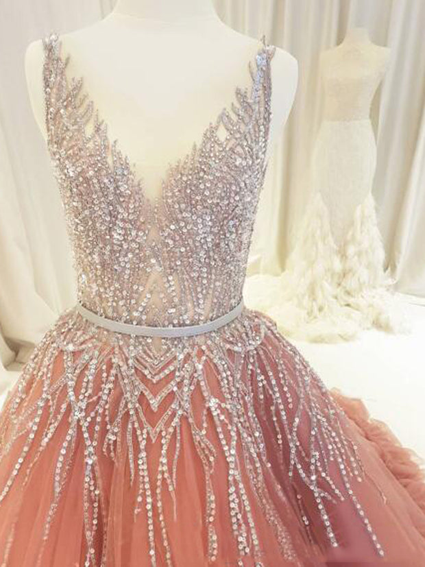 onlybridals Peachy evening dresses v-neck tulle and beaded crystal dresses - onlybridals