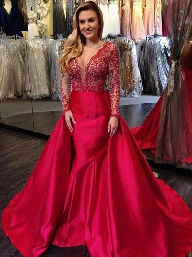 onlybridals Red Mermaid Prom Dresses V Neck Long Sleeves Satin Lace Appliques Sexy Backless Plus Size Evening Party Gowns Detachable Skirt - onlybridals
