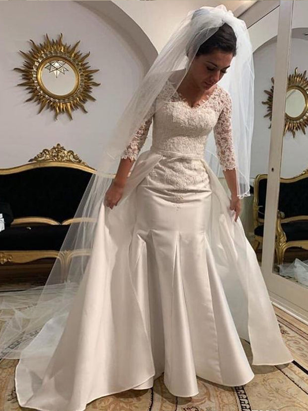 onlybridals Long Sleeves Lace Mermaid Wedding Dresses 2021 with Appliques Detachable Sweep Train Satin Wedding Bridal Gowns