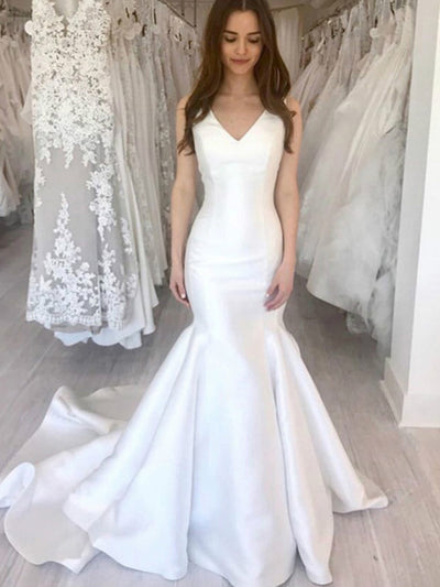 onlybridals V-neck Lace up Back Boho Bride Dress Cheap Wedding Gowns White Satin Mermaid Simple Wedding Dresses