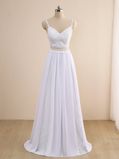Charming Two Pieces Boho Wedding Dresses Spaghetti Straps White/Ivory Chiffon Beach Bridal Gown 2021Robe de Mariee