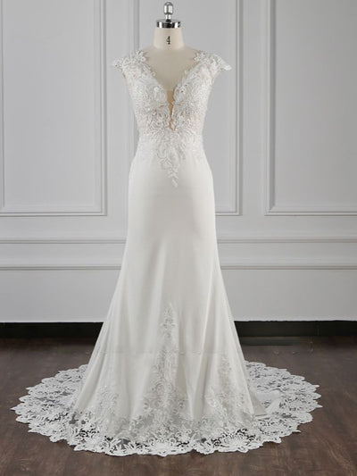 Elegant Mermaid Chiffon Lace Wedding Dress V-neck Appliques Bridal Gowns On Sale