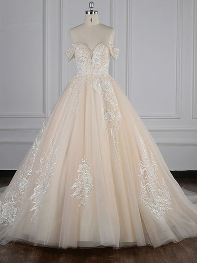 Gorgeous Ball Gown Tulle Lace Wedding Dress Champagne Appliques Off-the-Shoulder Bridal Gowns with Beadings On Sale