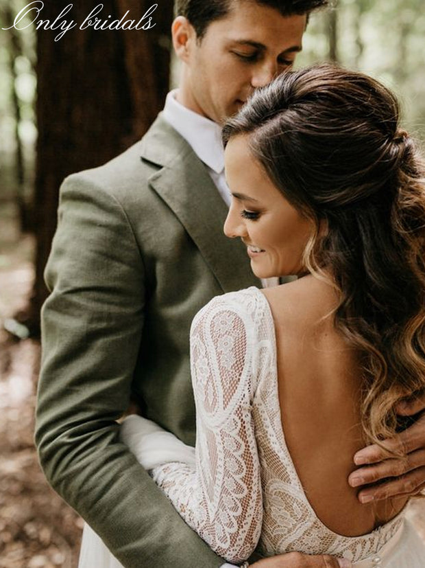 onlybridals style Lace boho bohemian wedding dress bridal gown long sleeve backless mermaid wedding dresses - onlybridals