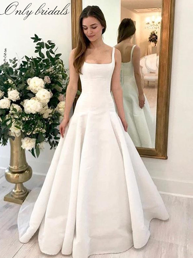 onlybridals Sheath A-Line Wedding Dress Square Collar Sexy Glamorous Bridal Gown Backless With Sweep Train]