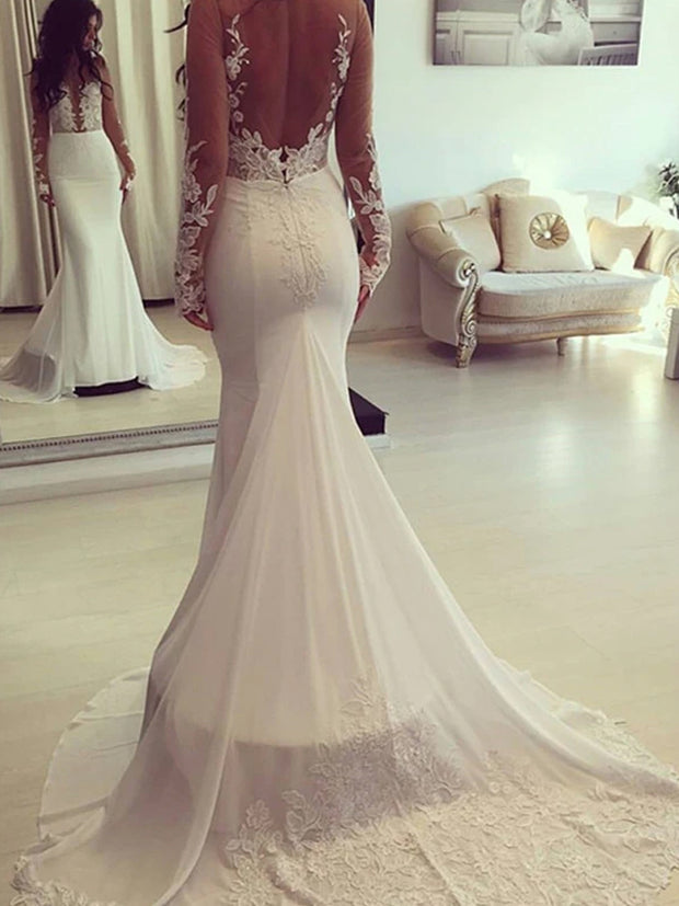 Classic Mermaid Pure Color Long Sleeve Applique Wedding Dress