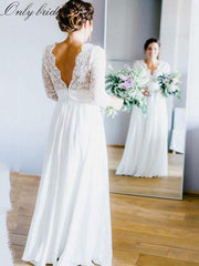 onlybridals White Chiffon Boho Wedding Dresses Deep V-neck 3/4 Sleeves Backless Beach Wedding Gowns Bride Dresses - onlybridals