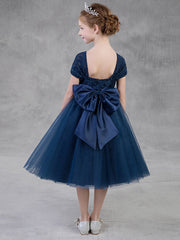 Princess Ball Gown Navy Blue Flower Girl Dresses Lace Tulle Short Kids Prom Gowns With Bow Little Girls Pageant Dresses