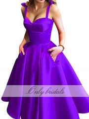 onlybridals Length Prom Dresses Short With Pockets Sweetheart Straps Zipper Satin A-Line Simple Evening Party Gowns