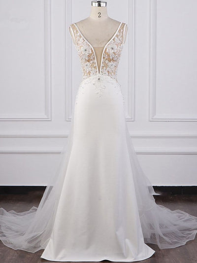 Chic Sheath White Satin V-neck Wedding Dress Tulle Lace Appliques Bridal Gowns Online