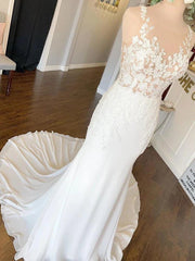Sexy Mermaid Scoop Cheap Wedding Dresses Online, Cheap Wedding Gown