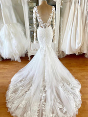 onlybridals  Long Sleeve Mermaid Wedding Dresses 2020 V-neck Vintage Lace Boho Backless African Women White Wedding Gowns - onlybridals