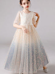 Wedding Party Flower Girl Dress Elegant Sequin Tulle Long Birthday Party Dress for Child Girl First Communion Celebrity Dresses