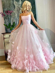 onlybridals Elegant Pink Sweet 16 Prom Dress Tulle Spaghetti Straps 3D Flowers Lace Tulle Ball Gown Evening Dress Women Formal Party - onlybridals