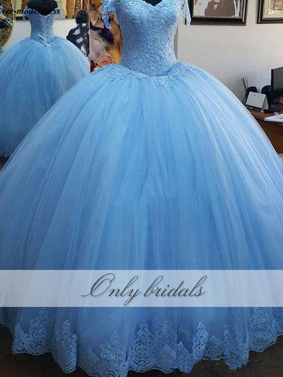 onlybridals Blue Ball Gown Princess  Off Shoulder Appliques Beaded Lace up Back Prom Dresses
