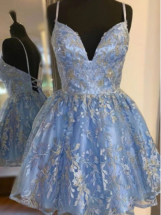 onlybridals  Blue back to school dress embroidered