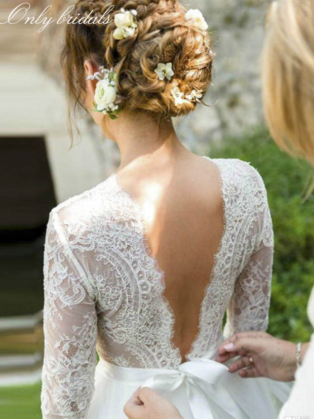 onlybridals White Tulle Lace Boho Wedding Dresses A-line Long Sleeves Backless Summer Bride Dresses Wedding Gowns