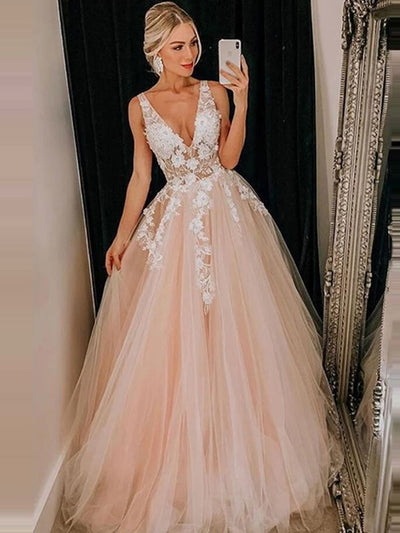 onlybridals Sexy V Neck Tulle Prom Dresses 2020 A Line Sleeveless Lace Appliqued Pink Evening Party Dresses Bridal Gown - onlybridals