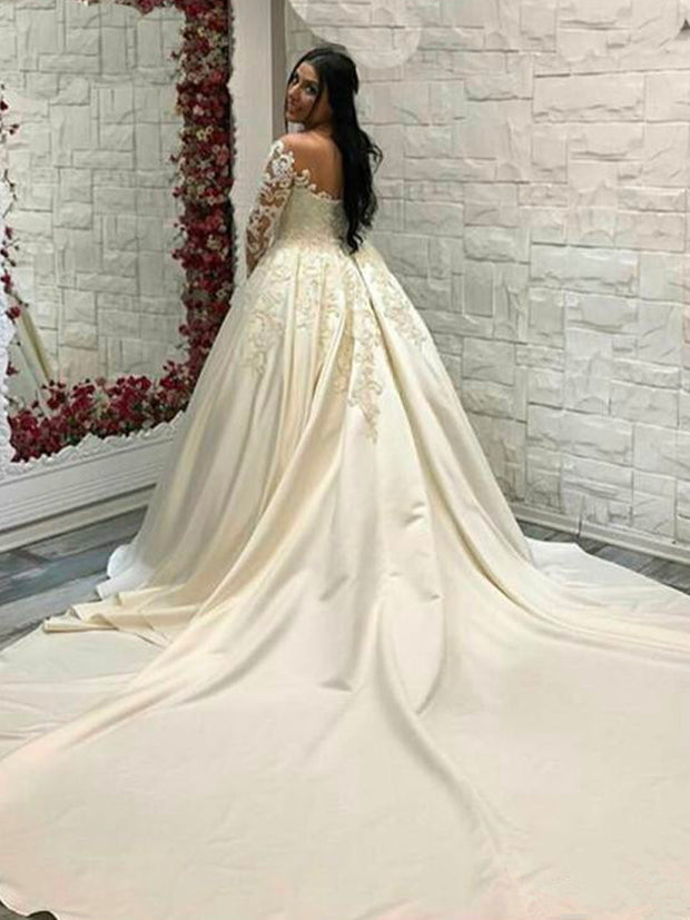 onlybridals Saudi Arabic Lace Ball Gown Satin Wedding Dresses Long Sleeves Scoop Neck Bridal Gowns Cathedral Train Plus Size
