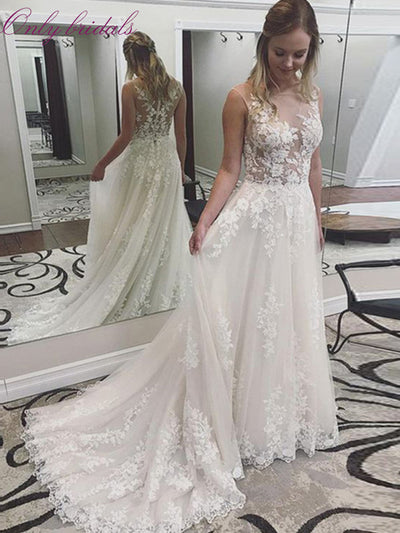 onlybridals Princess Wedding Dresses 2020 Scoop Neck Appliques Lace A-line Tulle Bridal Gown Button Back
