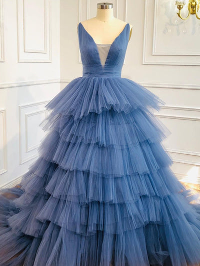 Blue v-neck strapless ball gown evening gown occasion dress