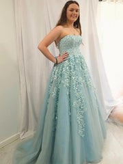 onlybridals Sweetheart Neck Strapless Blue Lace Long Prom Dresses, Ice Blue Lace Formal Graduation Evening Dresses