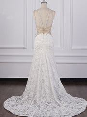 Gorgeous Sleeveless Lace Beadings Wedding Dress Appliques Rhinestones Bridal Gowns Online