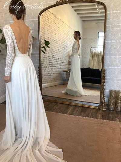 onlybridals style Lace boho bohemian wedding dress bridal gown long sleeve backless mermaid wedding dresses
