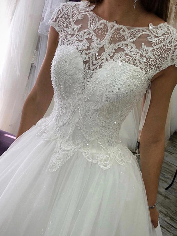 onlybridalsde Noiva 2021 Wedding Dresses Ball Gown Cap Sleeves Appliques Beaded Sequins Lace Up Boho Bridal Gowns Robe De Mariee