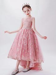Pink High Low Lace Princess Dress for Flower Girl Wedding Birthday Party Long Puffy Ball Gown Sleeveless Pageant Kids Dresses