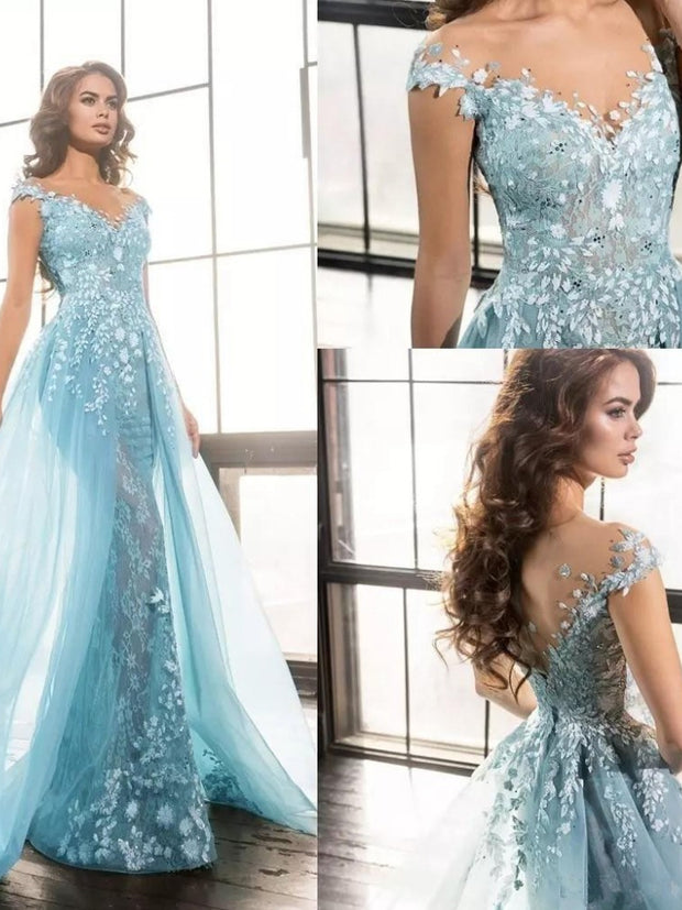 onlybridals Sky Blue  Evening Dresses  Mermaid   Lace Beaded  Long Evening Gown Prom Dress - onlybridals