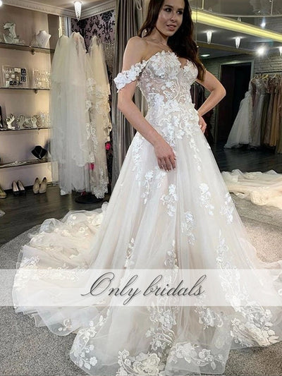 onlybridals Off Shoulder Wedding Dresses Lace Appliques Lace Up A-line Elegant 2020 Bride Dress Bridal Gowns - onlybridals