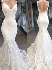 onlybridals Spaghetti Strap Mermaid Dress Appliques Lace V-Neckline Wedding Dresses With Sweep Train Bridal Gown Formal - onlybridals
