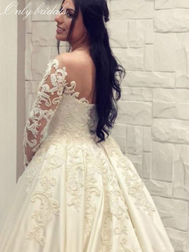 onlybridals Lace Ball Gown Satin Wedding Dresses Long Sleeves Scoop Neck Bridal Gowns Cathedral Train Plus Size Wedding Gown