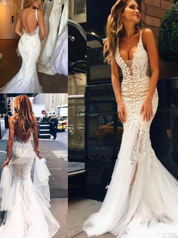 onlybridals Lace Floral Long Train Mermaid Beach Wedding Dresses Custom Make V-neck Full length Fishtail Bridal Wedding Gown - onlybridals