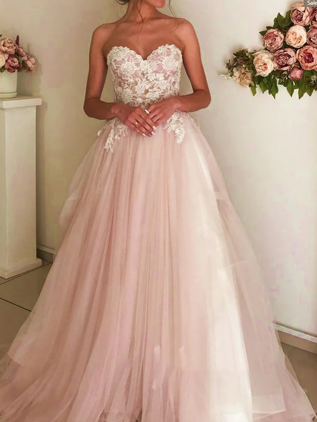 onlybridals Off-the-shoulder beaded blush beach wedding dress