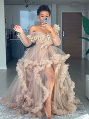 Off the Shoulder New Tulle Robe Women Dress Ruffled Long Sleeves Chic Kimono Robes African Photo Shoot Gown Dresses