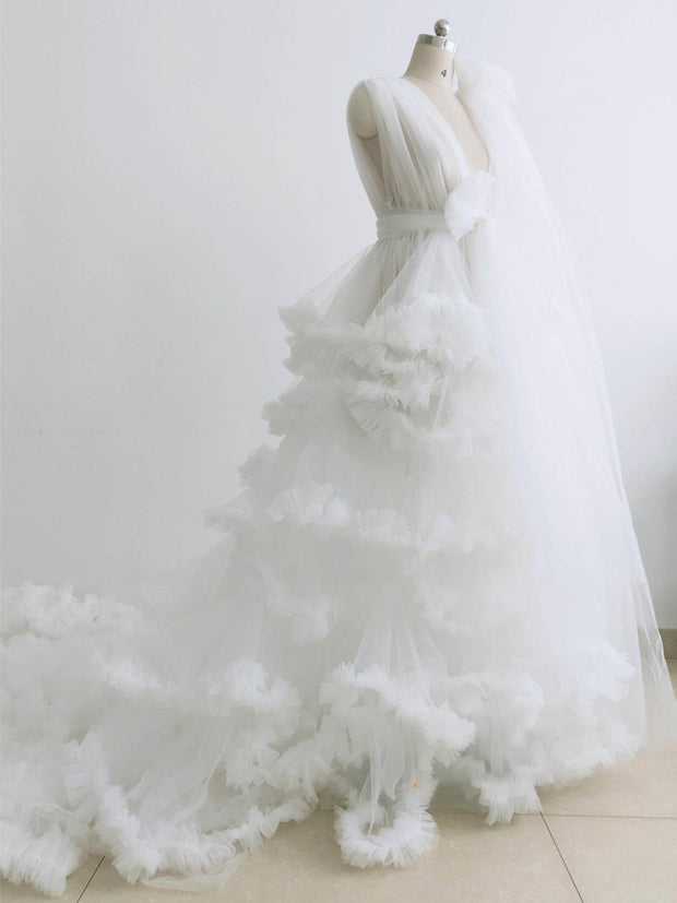 onlybridals Ivory Maternity Robe Strapless Ruffled Tulle Dress Photo Shoot Dress Long Train Dress