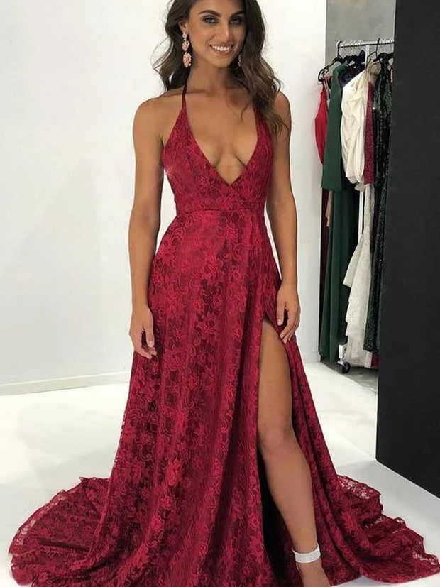 onlybridals V-Neck Burgundy Deep Lace Sweep Train Backless Long Prom Gown - onlybridals