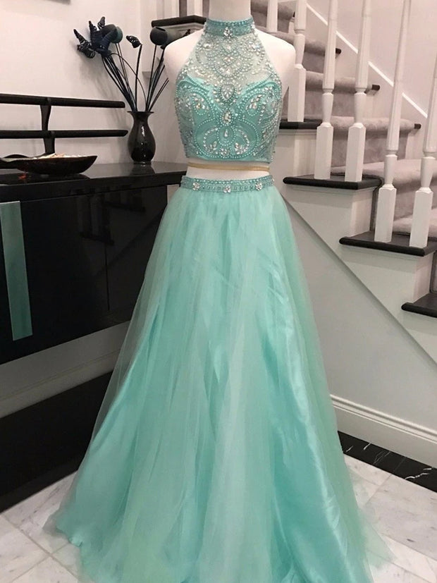 onlybridals Elegant Two Piece Sky Blue Backless Halter Long Prom Dresses with Beading